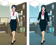 Asian Businesswoman in office interior Stock Illustration