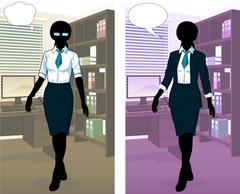 Businesswoman silhouette in office interior Stock Illustration