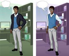 African Businessman in office interior Stock Illustration