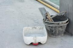 Buckets of cement for .build or construction - stock photo