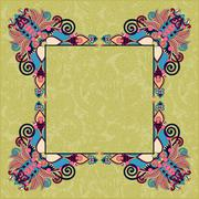 Floral vintage decorative ethnic frame, ukrainian ethnic style Stock Illustration