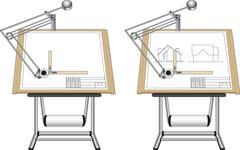 Panel board with blueprint - stock illustration