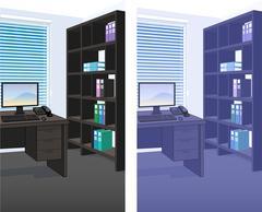 Office interior scene detailed background Stock Illustration
