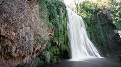 Long exposure of waterfall at Monasterio de Piedra, Spain - stock photo