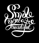 Smile you are beautiful phrase hand lettering, inscription for i Stock Illustration