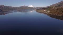 Aerial footage of Mount Fuji and Lake Ashi on a Winter morning, Kanagawa Stock Footage