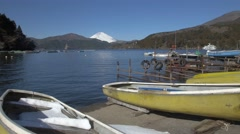 View of Mount Fuji and boats at Lake Ashi, Kanagawa Prefecture, Japan Stock Footage