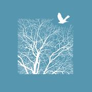 winter tree in a square - stock illustration