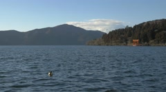 View of Mount Fuji and Hakone shrine gate from Lake Ashi, Kanagawa Prefecture, Stock Footage