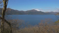 High-angle view of Mount Fuji and Lake Ashi, Kanagawa Prefecture, Japan Stock Footage