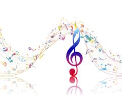 Musical background with clef - stock illustration