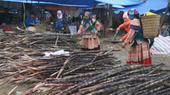 Street scene with local Hmong people from market in the Bac Ha, Vietnam. Stock Footage