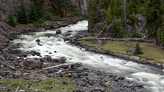 4K Time lapse zoom out rough Yellowstone River - stock footage