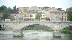 Bridge Vittorio Emanuele II. Rome, Italy - People and traffic Stock Footage