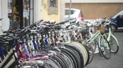 Bicycles in the street of ancient Rome, Italy lifestyle Stock Footage