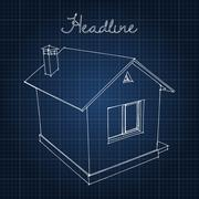 Drawing of the home on a blue background - stock illustration