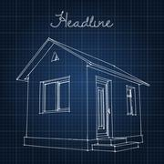 Drawing of the home on a blue background Stock Illustration