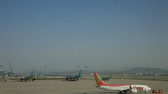 Time lapse of busy airport runways and flight preparations at Incheon airport Stock Footage