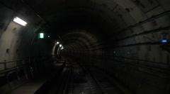 Going through the underground tunnel Stock Footage