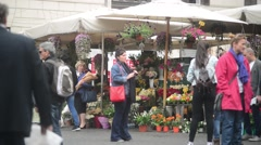 Rome, Italy. Flower Market on the Old Town Square Stock Footage