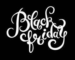 black friday handmade lettering calligraphy, total sale discount - stock illustration