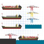Container Ship with Cranes - stock illustration
