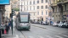Rome, Italy - tram rides to a halt Stock Footage