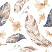 Fall Watercolor Pattern with Feathers - stock illustration
