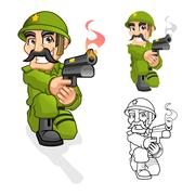 Captain Army Aiming a Handgun with Shoot Pose - stock illustration