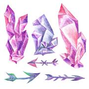 Watercolor Crystals and Arrows on White Background Stock Illustration