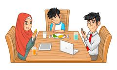 Family Eat Together Parents are Busy with Their Gadgets Stock Illustration
