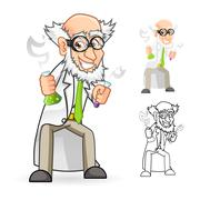 Scientist Holding a Beaker and Test Tube with Feeling Great Stock Illustration