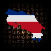 Costa Rica map flag on hex code illustration - stock illustration
