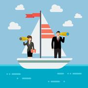 Business man and woman sailing and looking for future Stock Illustration