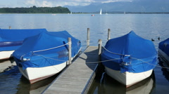Boats tied up at Jetty Stock Footage