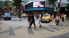 Time lapse of tourists walking around Ximending shopping district - stock footage