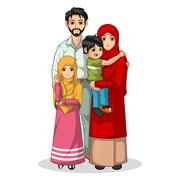 Muslim Family Cartoon Characters - stock illustration