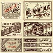Old advertisement designs - Vintage illustration Stock Illustration