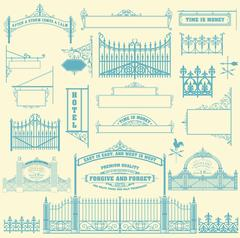 Set of wrought iron wicket, fence and gates grilles. Stock Illustration