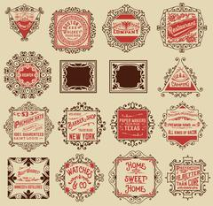 Advertisement designs and labels Stock Illustration