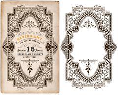 Wedding invitation vintage card with forged metal elements separ Stock Illustration