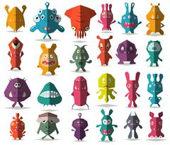 24 cute doodle monsters with folded style Stock Illustration