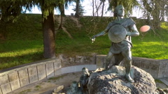 Aerial view of a sculpture in Viseu - Portugal. Viriato Stock Footage