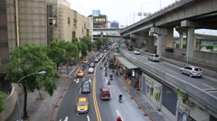 City traffic on roads and bridges driving in Taipei downtown - stock footage