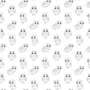 Owl vector seamless pattern. - stock illustration