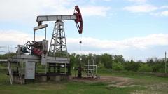 Oil Industry Pumpjack in the Field  - stock footage
