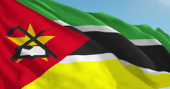 Beautiful looping flag blowing in wind: Mozambique Stock Footage