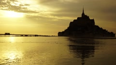 Mont-Saint-Michel at sunset - stock footage