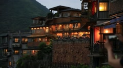 Beautiful night view of Jiufen in Taiwan Stock Footage