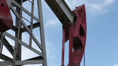 Part of the working oil pump. Close-up Stock Footage